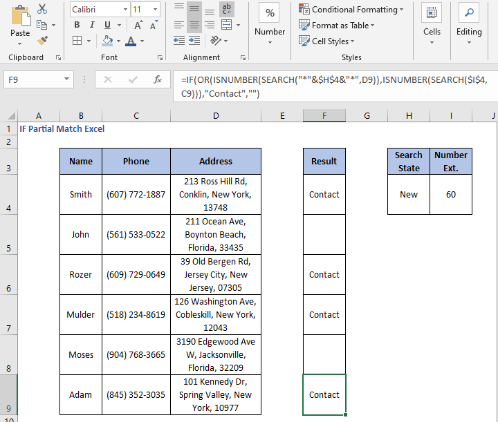 OR formula results - IF Partial Match Excel