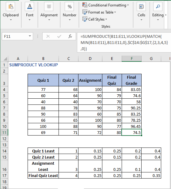AutoFill for example 2 - SUMPRODUCT VLOOKUP