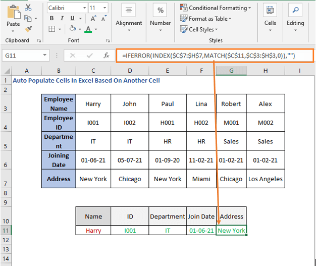 INDEX-MATCH formula row - Address - Auto Populate Cells In Excel Based On Another Cell