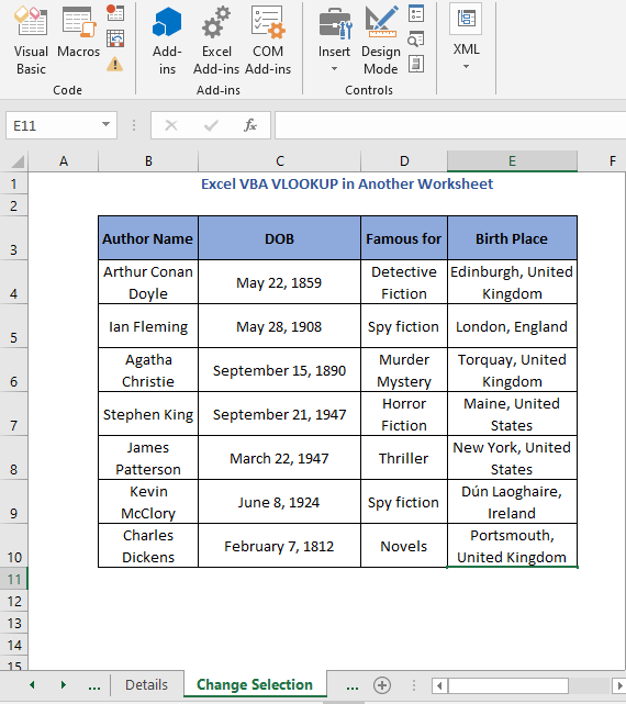 Result of selection cell code 3- Excel VBA VLOOKUP in Another Worksheet