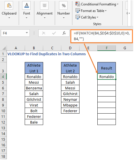 IF MATCH Formula result - VLOOKUP to Find Duplicates in Two Columns
