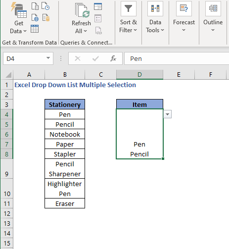 Items separated by new line - Excel Drop Down List Multiple Selection