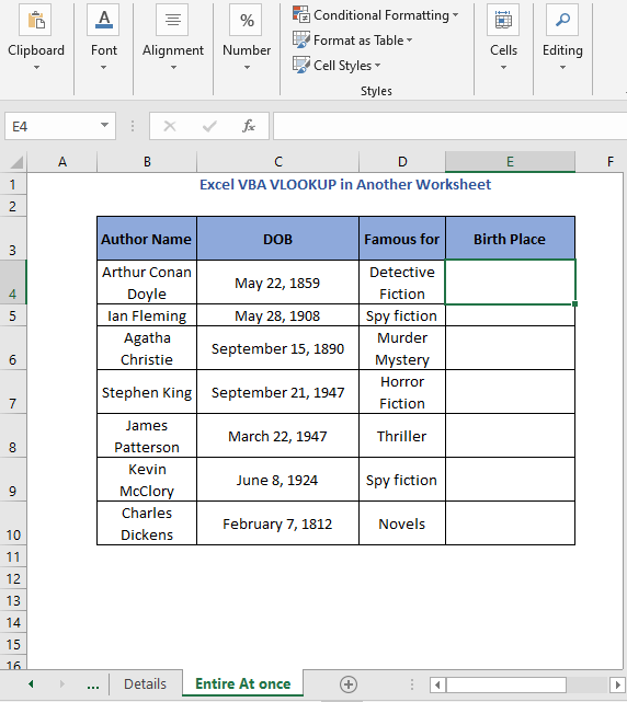 Entire At Once sheet - Result of selection cell code - Excel VBA VLOOKUP in Another Worksheet