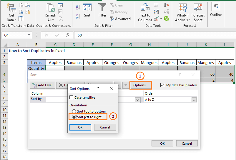Sort left to right - How to Sort Duplicates in Excel