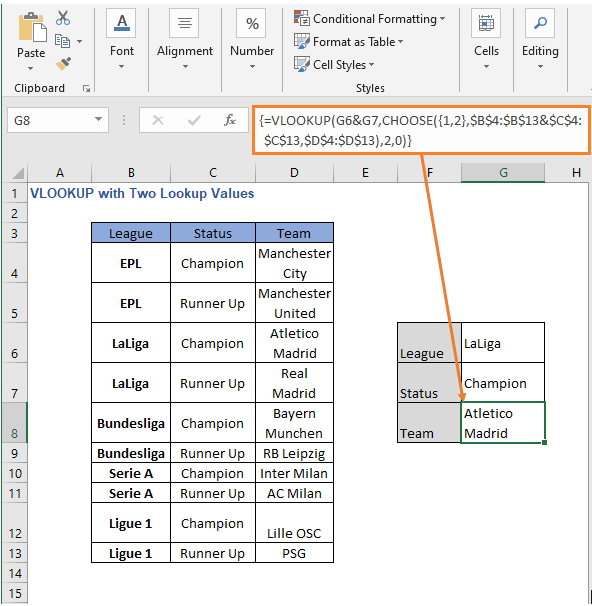 VLOOKUP - CHOOSE formula result - VLOOKUP with Two Lookup Values