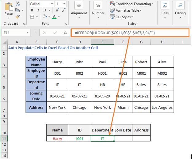 HLOOKUP Formula - Department - Auto Populate Cells In Excel Based On Another Cell