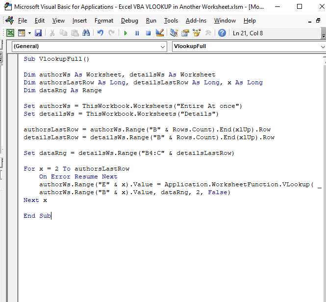 Entire data vlookup code - Excel VBA VLOOKUP in Another Worksheet
