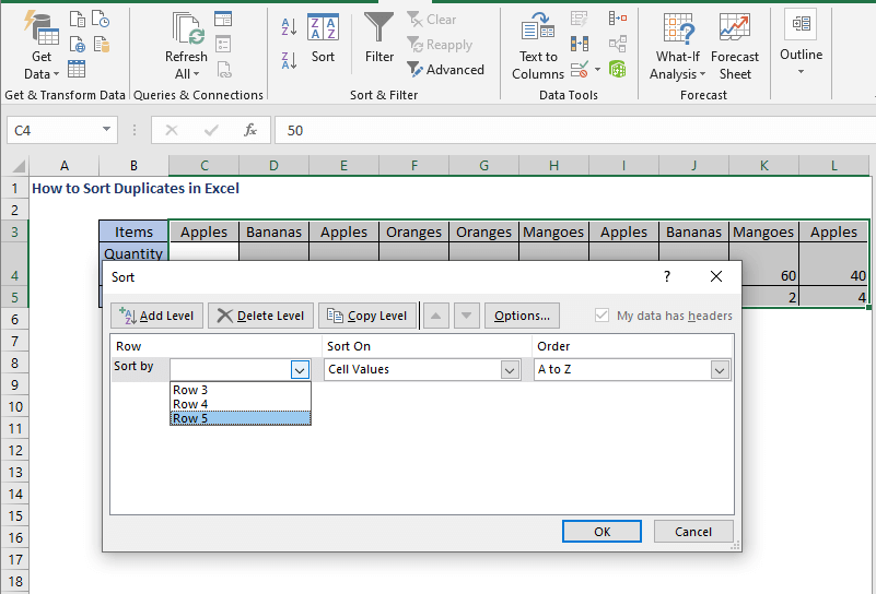 Select row - How to Sort Duplicates in Excel