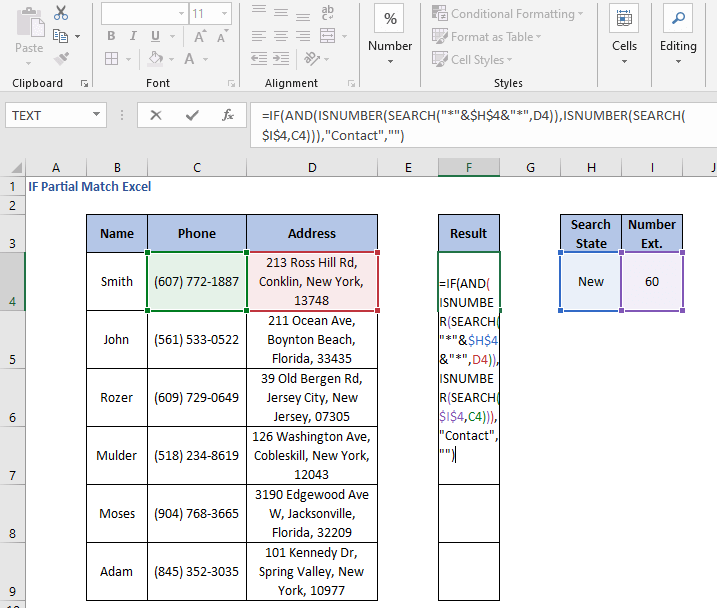 AND operation formula - IF Partial Match Excel