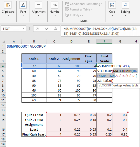MATCH insights - SUMPRODUCT VLOOKUP