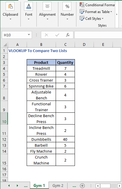 Gym 1 Sheet - VLOOKUP To Compare Two Lists