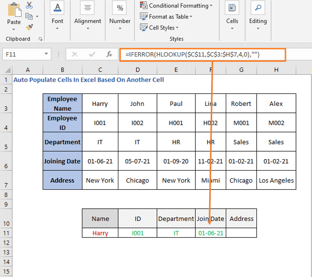 HLOOKUP Formula - joining date - Auto Populate Cells In Excel Based On Another Cell