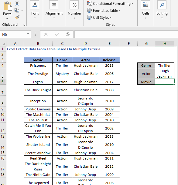Criteria Values - Excel Extract Data From Table Based On Multiple Criteria