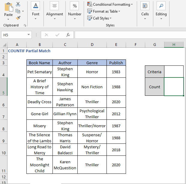 Criteria field - COUNTIF Partial Match
