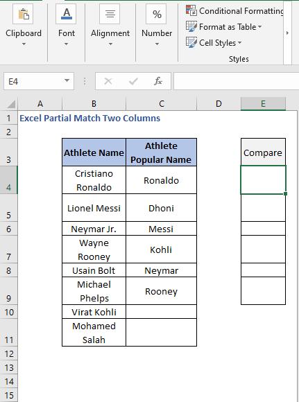 Compare column - Excel Partial Match Two Columns