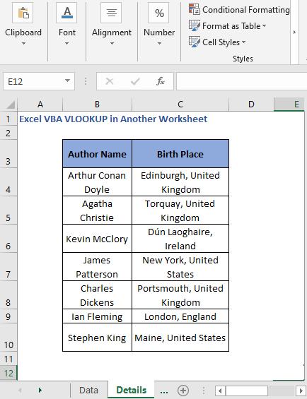 details list - Excel VBA VLOOKUP in Another Worksheet