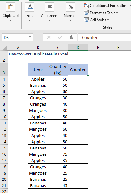Counter column - How to Sort Duplicates in Excel