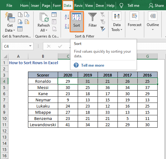 Sort in Data tab - How to Sort Rows in Excel