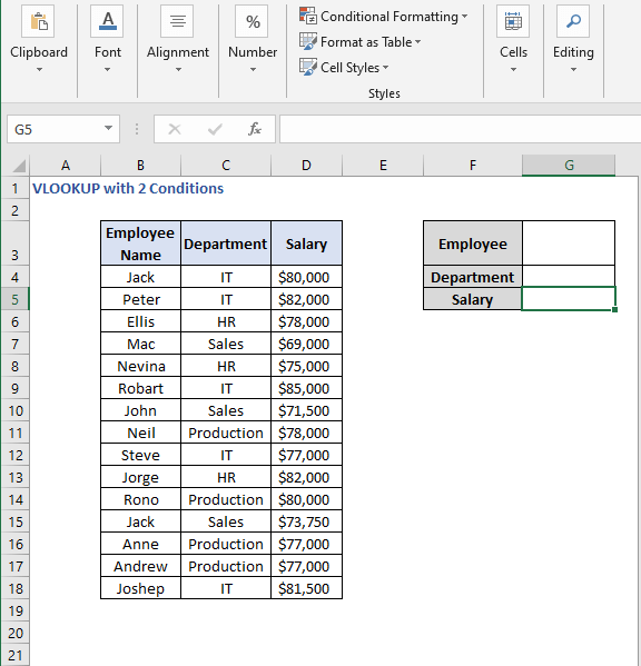 Criteria set - VLOOKUP with 2 Conditions