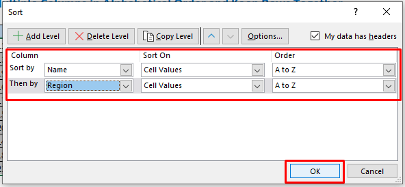 Select Name and Region on the Sort by option