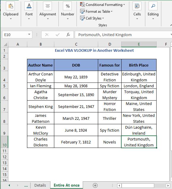 Entire data vlookup code result - Excel VBA VLOOKUP in Another Worksheet