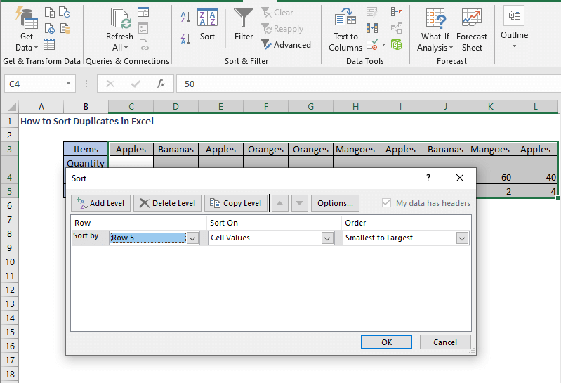 Select Row 5 - How to Sort Duplicates in Excel