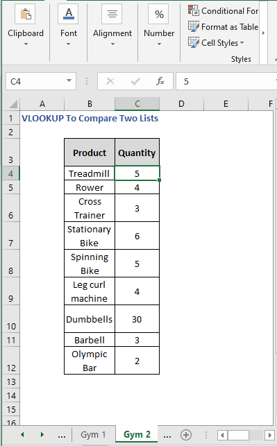 Gym 2 Sheet - VLOOKUP To Compare Two Lists
