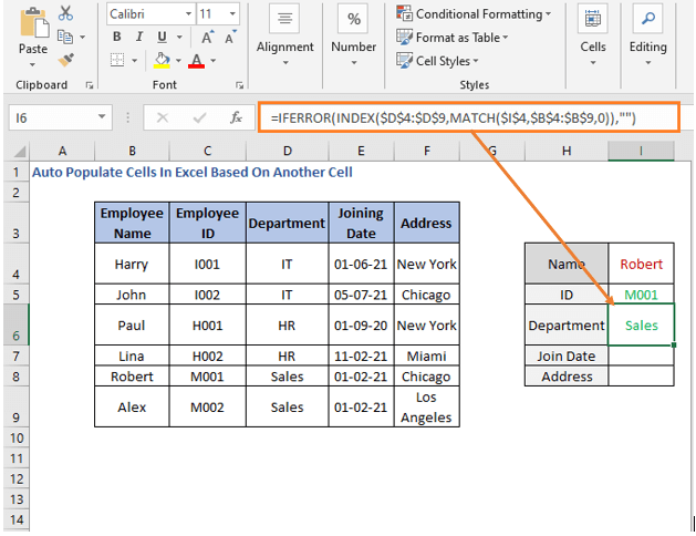 INDEX-MATCH formula - Department - Auto Populate Cells In Excel Based On Another Cell