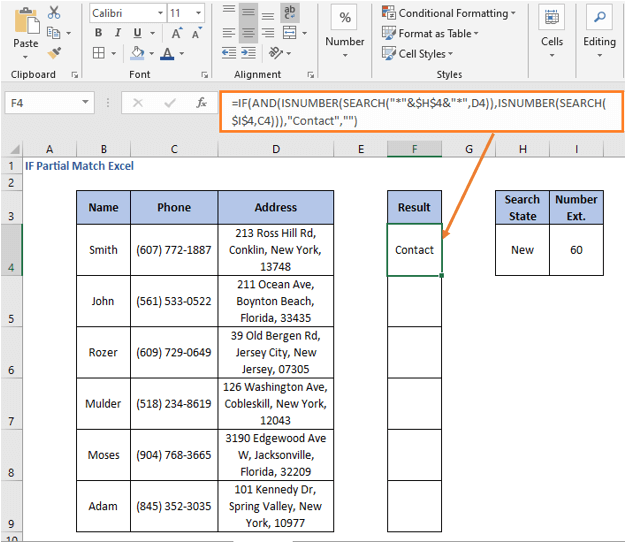 AND operation formula result - IF Partial Match Excel