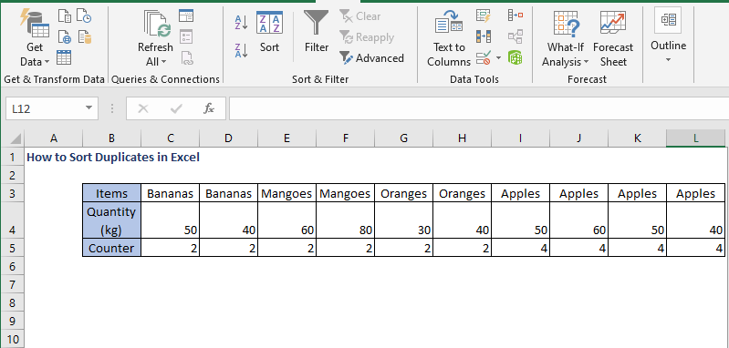 sort row in ascending order - How to Sort Duplicates in Excel