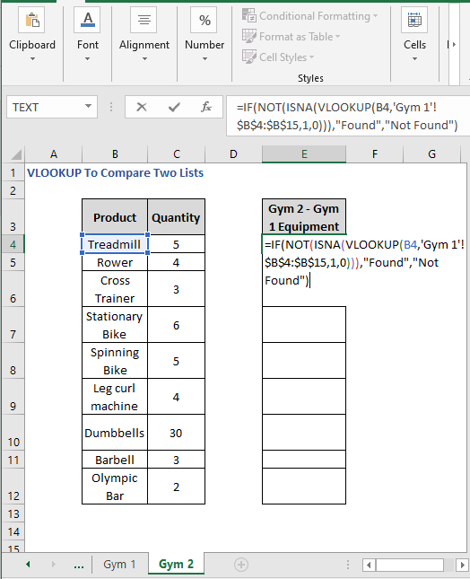 Different Sheet formula - VLOOKUP To Compare Two Lists