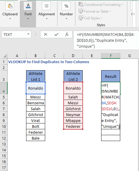 ISNUMBER - MATCH Formula - VLOOKUP to Find Duplicates in Two Columns