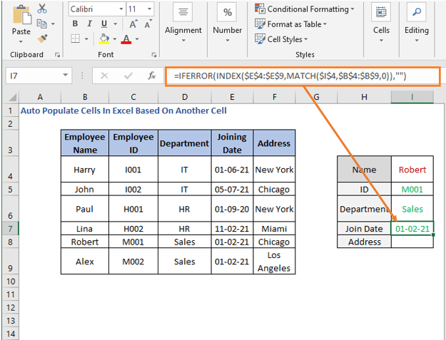INDEX-MATCH formula - Joining Date - Auto Populate Cells In Excel Based On Another Cell
