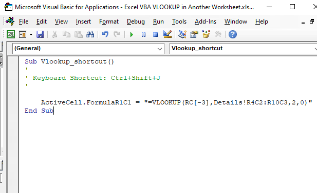 Cell selection code - Excel VBA VLOOKUP in Another Worksheet