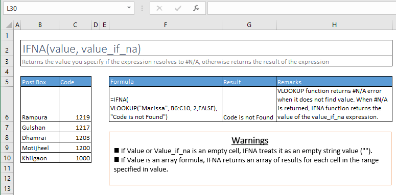 ifna function excel syntax and examples