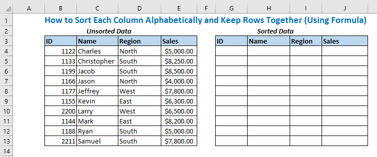 How to Sort Each Column Alphabetically and Keep Rows Together (Using Formula)