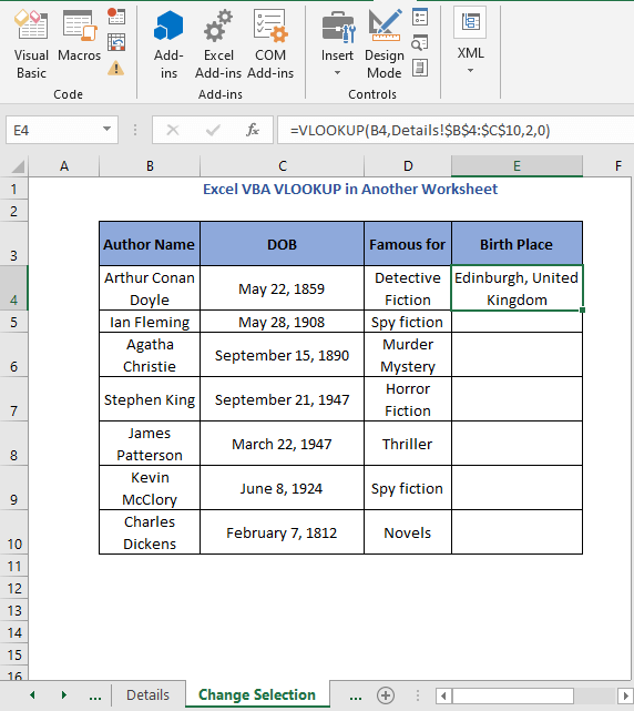 Result of selection cell code - Excel VBA VLOOKUP in Another Worksheet