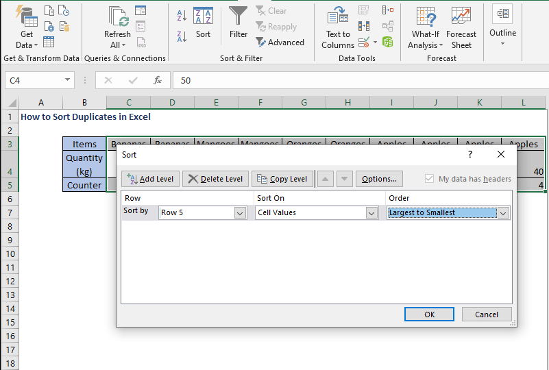 Select largest to smallest - How to Sort Duplicates in Excel