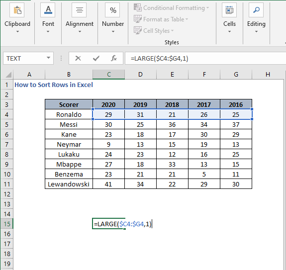 LARGE formula - How to Sort Rows in Excel