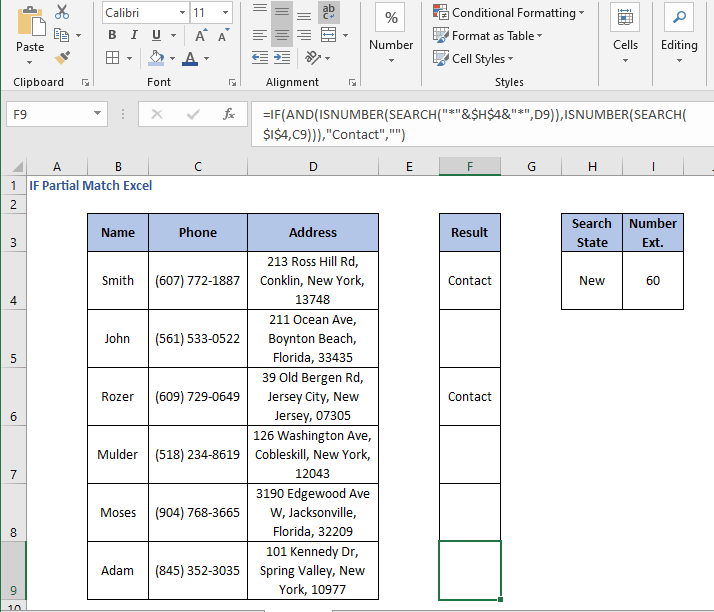 AND operation results - IF Partial Match Excel