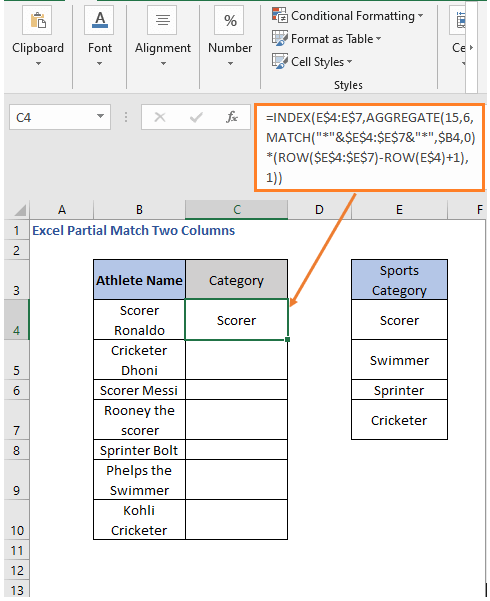 AGGREGATE Formula result - Excel Partial Match Two Columns