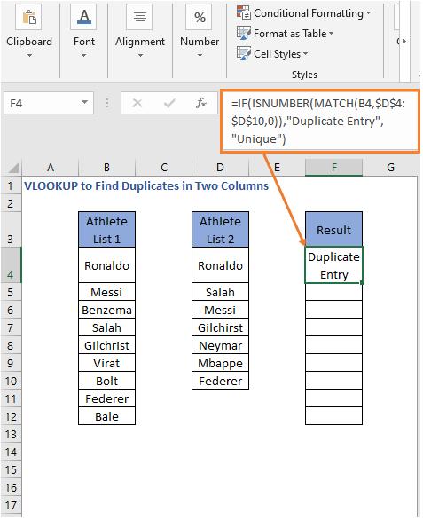 ISNUMBER - MATCH Formula result - VLOOKUP to Find Duplicates in Two Columns
