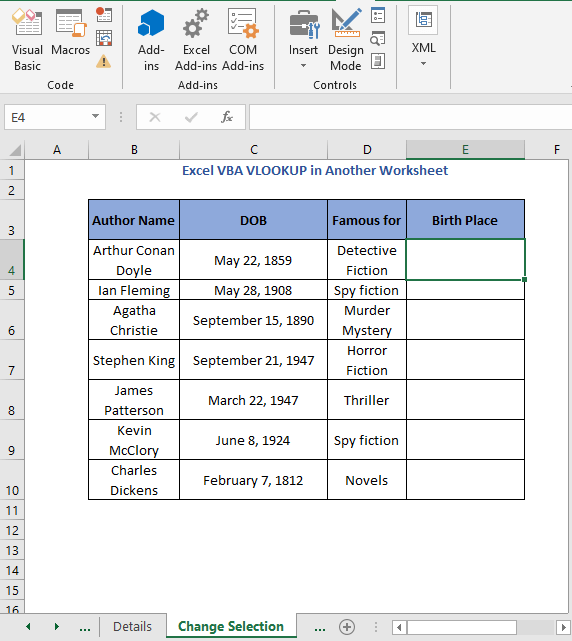Select cell - Excel VBA VLOOKUP in Another Worksheet