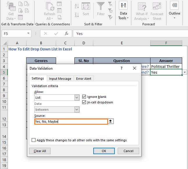 Manually change in list - How To Edit Drop Down List In Excel