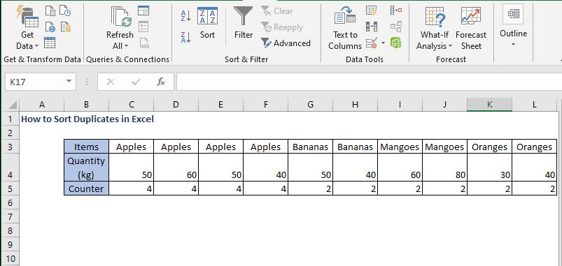 sort row in descending order - How to Sort Duplicates in Excel