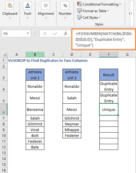 ISNUMBER - MATCH Formula result 2 - VLOOKUP to Find Duplicates in Two Columns
