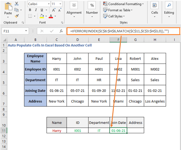 INDEX-MATCH formula row - Joining Date - Auto Populate Cells In Excel Based On Another Cell