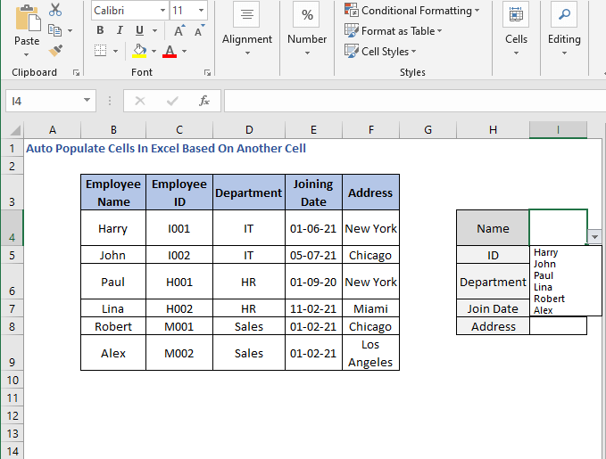 Select from drop list - Auto Populate Cells In Excel Based On Another Cell