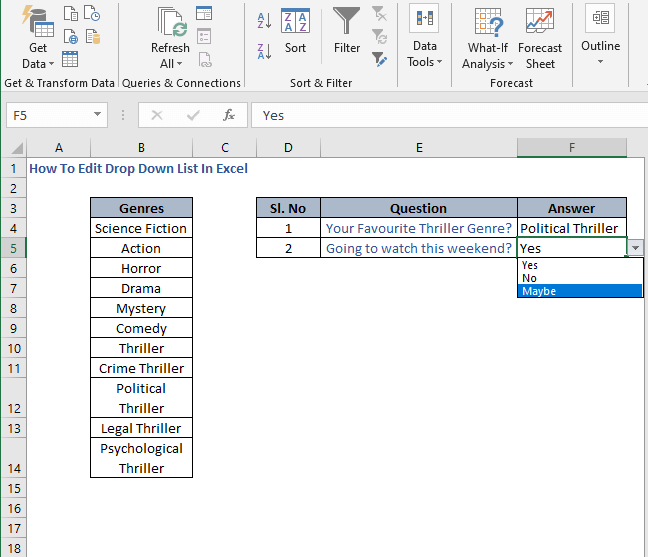Manual Change list - How To Edit Drop Down List In Excel