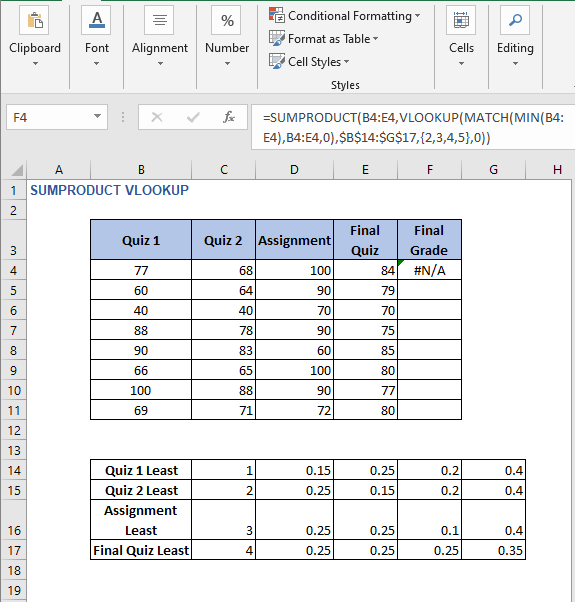 Not available error - SUMPRODUCT VLOOKUP